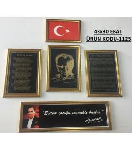 ATATÜRK KÖŞESİ 5'Lİ SET ÖZEL BASKILI ÇERÇEVELİ