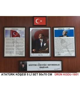 ATATÜRK KÖŞESİ 5'Lİ SET BÜYÜK BOY 53,5X73 CM