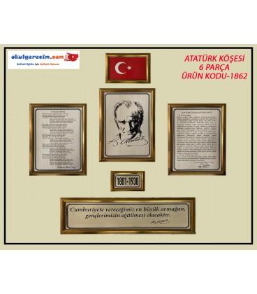 ATATÜRK KÖŞESİ AHŞAPA BASKI ÇERÇEVELİ 6 PARÇA