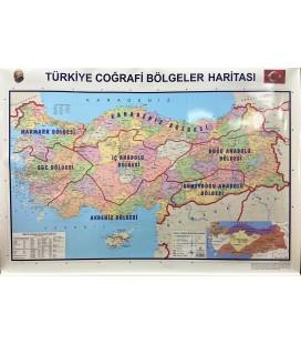 TÜRKİYE COĞRAFİ BÖLGELER VE SİYASİ HARİTASI 70X100 CM