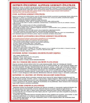 DEPREM ÖNCESİ YAPILMASI GEREKENLER 50X70