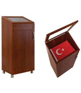 CAMLI AHŞAP BAYRAK DOLABI 85X50X35 EBAT