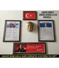 ATATÜRK KÖŞESİ STANDART KAHVERENGİ SARI BONCUKLU ÇERÇEVELİ 5'Lİ SET