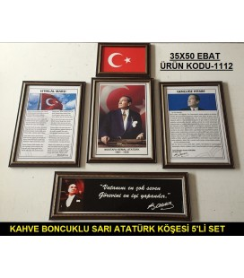 ATATÜRK KÖŞESİ KAHVERENGİ SARI BONCUKLU ÇERÇEVELİ 5'Lİ SET