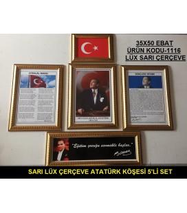 ATATÜRK KÖŞESİ LÜX SARI ÇERÇEVELİ 5'Lİ SET